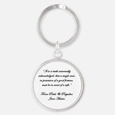 Jane Austen Quote Truth Round Keychain