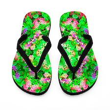 Cool Funky rainbow floral Flip Flops