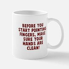 Before point fingers Mug