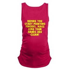 Before point fingers Maternity Tank Top
