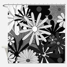 Cute Retro black and white Shower Curtain