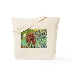 Irises & Ruby Cavalier Tote Bag