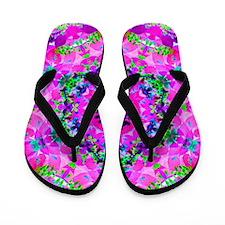 Funny Funky rainbow floral Flip Flops