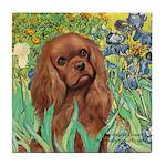 Irises & Ruby Cavalier Tile Coaster