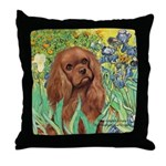 Irises & Ruby Cavalier Throw Pillow