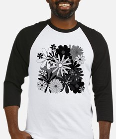 Black and White Flowers Baseball Jersey