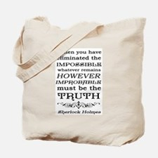 Sherlock Holmes Impossible Quote Tote Bag