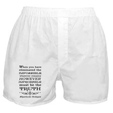 Sherlock Holmes Impossible Quote Boxer Shorts