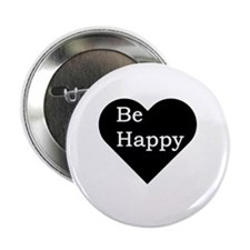 "Be Happy, Heart Design 2.25"" Button"