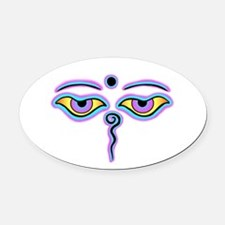 Buddha eyes Oval Car Magnet