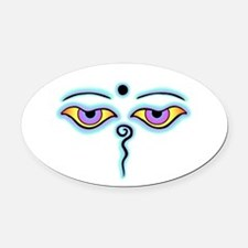 Funny Buddha eyes Oval Car Magnet