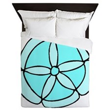 Blue Sand Dollar Queen Duvet