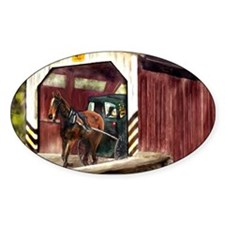 Buggy on Covered Bridge Decal