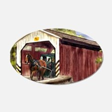Buggy on Covered Bridge Wall Decal