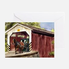 Buggy on Covered Bridge Greeting Cards (Pk of 10)