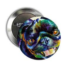 Black Pug Happy Button