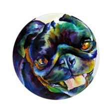 Black Pug Happy Ornament (Round)