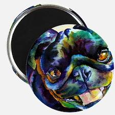 """Black Pug Happy 2.25"""" Magnet (10 pack)"""