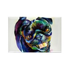Black Pug Happy Rectangle Magnet (100 pack)