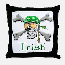 Irish Pirate Scull and Bones Throw Pillow