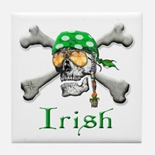 Irish Pirate Scull and Bones Tile Coaster