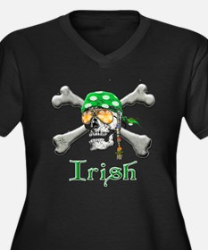 Irish Pirate Scull and Bones Women's Plus Size V-N