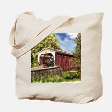 Amish Buggy on Covered Bridge Tote Bag