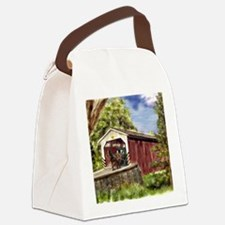Amish Buggy on Covered Bridge Canvas Lunch Bag