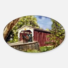 Amish Buggy on Covered Bridge Decal