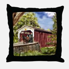 Amish Buggy on Covered Bridge Throw Pillow
