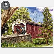 Amish Buggy on Covered Bridge Puzzle