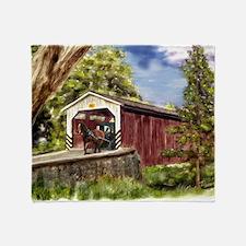 Amish Buggy on Covered Bridge Throw Blanket
