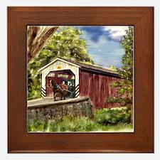 Amish Buggy on Covered Bridge Framed Tile