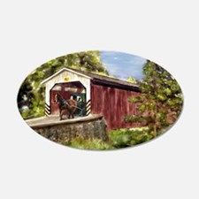 Amish Buggy on Covered Bridge Wall Decal