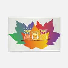 Three Little Autumn Owls Rectangle Magnet