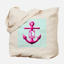 Letter L Anchor And Stripes Monogram Tote Bag
