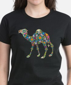 Colorful Retro Floral Camel T-Shirt