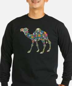 Colorful Retro Floral Camel Long Sleeve T-Shirt