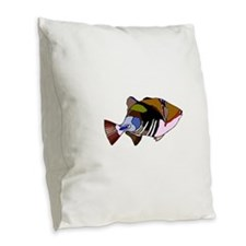 Huma Huma Triggerfish Burlap Throw Pillow