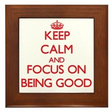Cute Keep calm and carry on Framed Tile