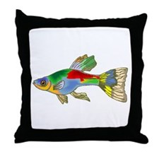 Colorful Guppy Fish Throw Pillow