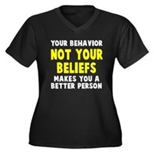 Your behavio Women's Plus Size V-Neck Dark T-Shirt