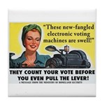Newfangled Voting Machines Tile Coaster
