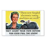 Newfangled Voting Machines Sticker (Rect.)
