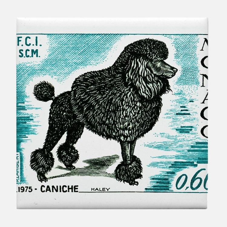 1975 Monaco Dog Show Poodle Postage Stamp Tile Coa