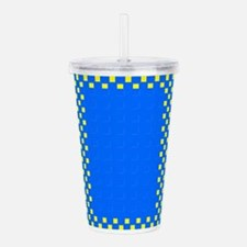Checkerboard Blue 312 Acrylic Double-Wall Tumbler