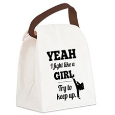 Fight Like a Girl - black Canvas Lunch Bag