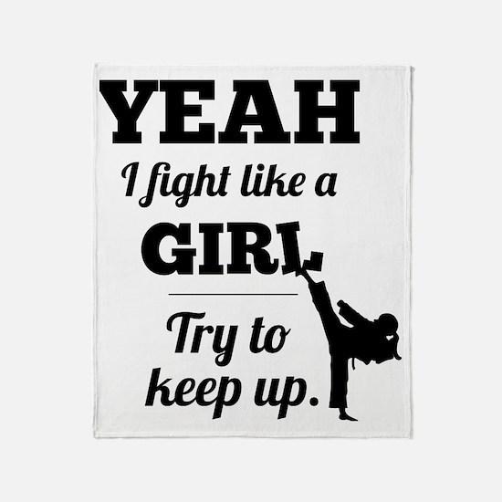 Fight Like a Girl - black Throw Blanket