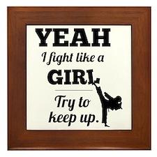 Fight Like a Girl - black Framed Tile