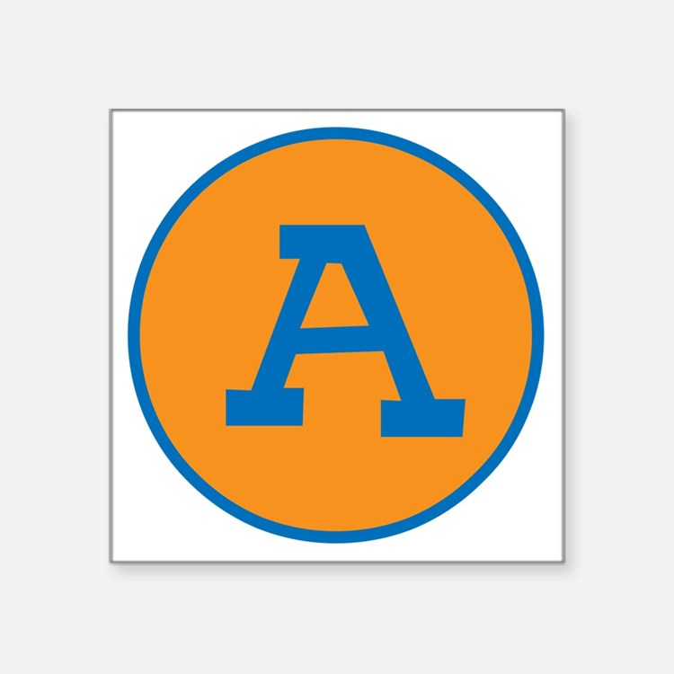 Retro Orange and Blue Custom Letter Sticker